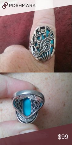 Ring Brand New,Vintage,Tibet,Bohemian style, silver musical notes ring,with turquoise and marcasite stones.....quite breathtaking Jewelry