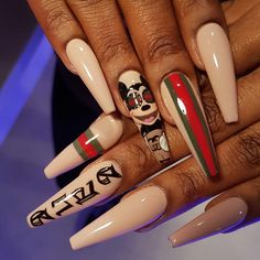 "2,083 Likes, 31 Comments - Reecey Roo's Nail Art Bar (@iamreeceyroo) on Instagram: ""''Gucci Gang Gucci Gang'' GucciD Down by our boy Krish❤️❤️ #reeceyroos #roogirl #iamreeceyroo…"""