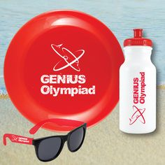 """3 piece set includes - 20oz HDPE white water bottle with PMS 186 red push pull cap with a one color/two location or wrap imprint, one red 9.25"""" diameter flying disc with one color/one location imprint and a pair of plastic sunglasses with black lenses and red arms and a one color/one location imprint. Bottle and flyer made in the USA. Kit packaged in a white mesh sleeve. 7 day regular production. 3 day rush available."""