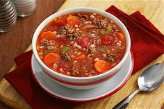 A classic, hearty soup made with meat, vegetables and grain—a delicious budget-friendly entree to feed a crowd.
