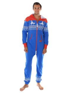 Ugly Christmas Sweater Party - Fair Isle Blue and Red Adult Jumpsuit Size XXS