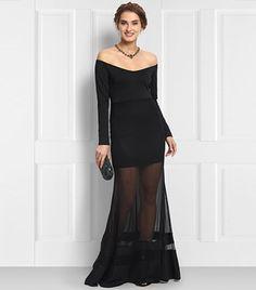 Lulu & Sky Black Off-Shoulder Mesh Gown
