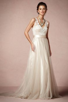 I submit this for Beckett's wedding gown. By BHLDN