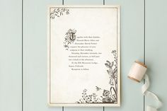 "CHRIS FAV""Story Book"" - Vintage Wedding Invitations in Winter Cream by Jody Wody."
