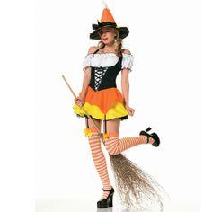 LEG AVENUE KANDY KORN WITCH WOMAN.Lanza hechizos cubiertos de azúcar de la seducción con este fantástico disfraz de divertida bruja del maíz. Compuesto por un mini vestido con liguero, con la falda amarilla y volante en naranja, conjuntado con la parte superior de estilo campestre de efecto corpiño en negro. Ademas incluye las medias a rayas naranjas y blancas con lazo y el sombrero característico de las brujas de ala ancha y de pico.