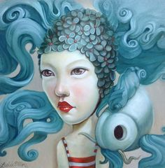 blue - woman and fishes - Leslie Ditto - illustration
