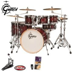 Gretsch Catalina Maple Dark Cherry Burst 7-Piece Shell Kit (CMT-E826P-DCB) - Bonus! Includes Evans Drumset Survival Guide, LP Rumba Shaker (LP201BK) & Gibraltar Bass Drum Pedal (3311) by Gretsch. $1099.00. The new Catalina Maple series starts with the Gretsch maple formula shell. We carefully developed the maple shell specification to produce tones that explode with attack and volume and project a balanced amount of warm, low-end frequencies. All Catalina Maple sh...