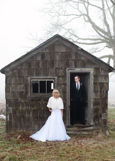 A dark, abandoned cabin is the perfect contrast for a wintry fog and your wedding whites. No, they're not easy to find, but take advantage if you can. See more from this wedding at Chloe Photography.   - TownandCountryMag.com