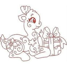 OregonPatchWorks.com - Sets - REDWORK LITTLE REINDEERS