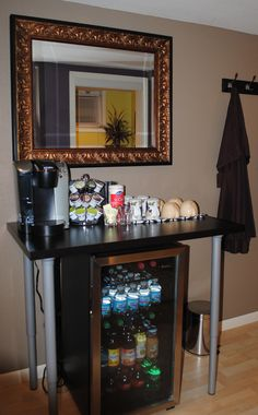 Home Salon done right - self serve beverage area.