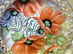 Poppy Plate Hand Painted Porcelain Ceramic Pottery Kitchen