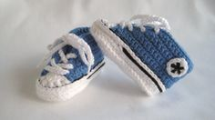 Converse Style/Chucks Baby Booties  Blue by BabyJaneKnits on Etsy
