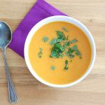 This vegan carrot soup is flavored with fresh orange juice, cinnamon, ginger, and coconut milk.
