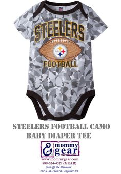 8629cdddc9a Steelers Camo pattern is made by footballs on this baby bodysuit. Choose 0-3