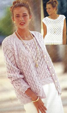 Ladies Cardigan Knitting Patterns, Knit Cardigan Pattern, Cardigan En Maille, Lacey Tops, Lace Cardigan, Vintage Sweaters, Knit Sweaters, Double Knitting, Crochet Fashion
