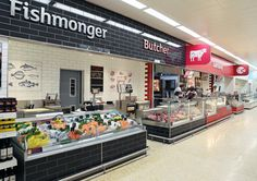 Sainsbury's | by Twelve Studio Seafood Shop, Supermarket Design, Food Court, Retail Design, Store Design, Grocery Store, Interior Inspiration, Convenience Store, Coffee Shops