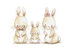 Cuadro infantil FAMILIA CONEJO Lámina infantil | Etsy Cute Images, Cute Pictures, Animal Drawings, Cute Drawings, Children's Book Illustration, Illustrations, Baby Nursery Art, Nursery Prints, Bunny Art