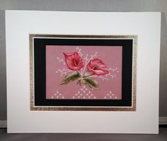 Calla Lillies Parchment Craft Design. This is a very intricate parchment design of Red Calla Lillies painted with watercolor. It looks like lace although it is made of vellum paper. It is hand embossed, pierced and painted with Swarovski crystals embellishing the design. It takes many hours to create but the result is exquisite. It is matted to 8 X 10 inches. A handmade gift card will be included with order if the GIFT MESSAGE is selected.