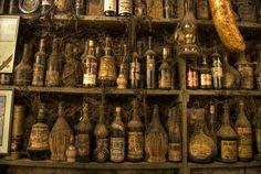 Pirate bar antique bottles vintage old bottles in greek taverna
