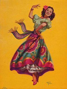 Vintage Original Lithograph Pin-Up Print by Art Frahm Featuring a Gorgeous Spanish Senorita Dancing Queen - Make Easy Diy Pinup Art, Mexican Artwork, Mexican Folk Art, Mexican Paintings, Vintage Prints, Vintage Posters, Vintage Art, Retro Posters, Jorge Gonzalez