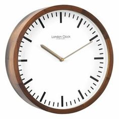 London Clock Company This walnut finish wall clock has a simple marker dial making it suitable for any room. Silver Wall Clock, Metal Clock, Wall Clock London, Home Clock, Black Clocks, How To Make Wall Clock, Wooden Case, Steel Wall, Walnut Finish