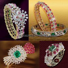 Brilliant cut diamonds, cabochon rubies, square shaped emeralds studded broad kada style bangles with meena work finishing inside and 18 . Diamond Bracelets, Gold Bangles, Diamond Jewelry, Bangle Bracelets, Gold Jewelry, Schmuck Design, Simple Jewelry, Bracelet Designs, Indian Jewelry