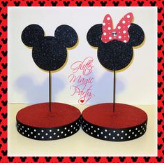 SET OF 2 Mickey and Minnie Mouse Inspired by GlitterMagic23s