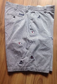 #Chaps #RalphLauren Mens #Short Size 36 Stripes Embroidered #Sailboats #Anchors #hamptonlife