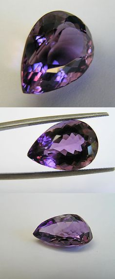 Amethyst 10192: Purple Pear 16.40 Cts.Natural Brazilian Purple Amethyst Nos Jewelers Estate BUY IT NOW ONLY: $435.0