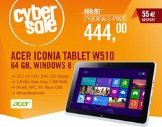 CyberSale: Acer Iconia W510 für Tablet-Produktivität mit Genuss