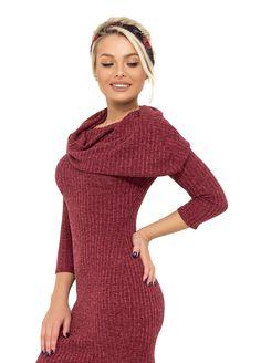 Платье приталенного кроя из рибаны+люрекс с воротником-хомут на одно плечо и рукавами 7/8 11619 Your Style, High Neck Dress, Sweaters, Dresses, Fashion, Turtleneck Dress, Vestidos, Moda, Sweater