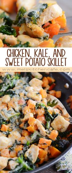 Cheesy Chicken, Kale, and Sweet Potato Skillet Meal.