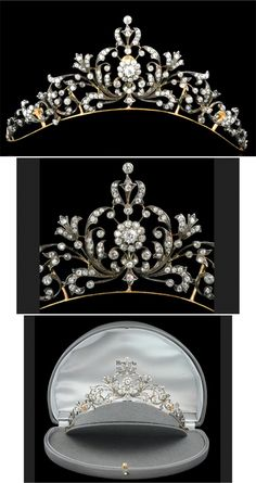 Victorian diamond tiara / necklace of scrolling floral and foliate design with central old mine cut diamond cluster among a graduated openwork panel raised on a plain frame with detachable backchain mounted in silver and gold London c.1890