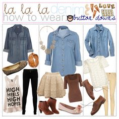How To Wear; Denim button dowwns ♥, created by polyvoretipteam on Polyvore
