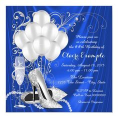 Shop Womans Royal Blue and Silver Birthday Party Luxe Invitation created by Pure_Elegance. Personalize it with photos & text or purchase as is! Birthday Invitation Message, Purple Invitations, 50th Birthday Party Invitations, Wedding Invitations, Invites, 50th Party, Invitation Ideas, Zazzle Invitations, Invitation Text