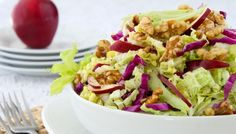 I think I'm drowning… Waldorf Salad with Napa Cabbage & Creamy Champagne Dressing Napa Cabbage Recipes, Waldorf Salad, Healthy Salad Recipes, Yummy Recipes, Recipies, Yummy Food, Rabbit Food, How To Make Salad, Soup And Salad