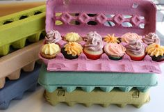 Paper Egg Carton Rainbow Pack. Super cute idea for a table display for mini cupcakes!