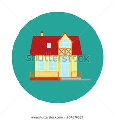 Vector house, home symbol. Flat design icon. Architecture estate illustration. Building with trees, door, windows. Blue, green, yellow, orange, pink, red colors. - stock vector