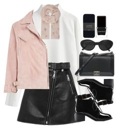 """""""Sem título #5737"""" by lguimaraes ❤ liked on Polyvore featuring Maje, Janavi, Topshop, Chanel, Novo, J.Crew and Context"""