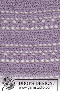 """Gehaakte DROPS jurk met kantpatroon en ronde pas, wordt van boven naar beneden gehaakt van """"Cotton Merino"""". Maat: S - XXXL. ~ DROPS Design"""