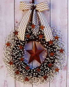 BURLAP CHEVRON Rusty Stars White Berry Door Wreath-Winter Wreath-Spring Wreath-Front Door Wreath-Rustic Primitives Country Home Decor on Etsy, $83.00