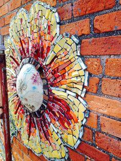 Gaillardia detail, mosaic mural by LaNelle Davis & Beth Goldston- Beggars & Choosers, Pittsboro, NC
