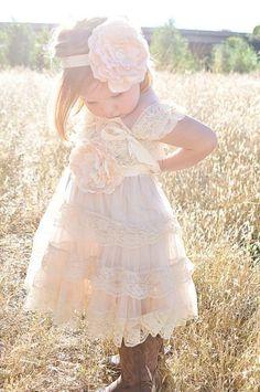 Vintage Wedding-Shabby Chic Flower Girl Dress / http://www.deerpearlflowers.com/flower-girl-dresses-for-country-weddings/
