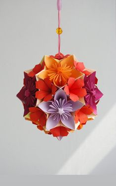 """Mobile - Flowers - Japan - Modern - Origami - Paper flowers - Wedding - anniversary - home decor - floral arrangement Origami paper ball – """"Autumn"""".via Etsy. Origami Star Box, Origami Ball, Origami Fish, Origami Modular, Origami Folding, Origami Paper, Origami Patterns, Origami Ideas, Origami Mouse"""