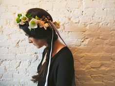 pretty floral crown with ribbon