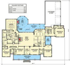 Plan 56410SM: Luxurious Acadian House Plan With Optional Bonus Room