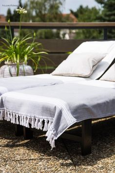 Great Hamam blanket with fringes 170 x 85 cm gray-white