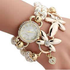 2017 New Luxury Bracelet Watch Fashion women Pearl Bracelet Quartz Watches Women Casual Wristwatches Women's Dress Clock Montre Pearl Bracelet, Bracelet Watch, Flower Bracelet, Ladies Bracelet, Bangle Bracelet, Pearl Necklace, Women's Dress Watches, Wrist Watches, Earrings