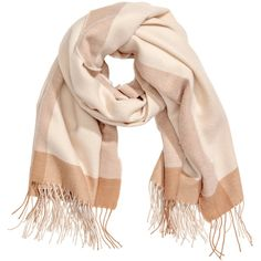 Large Scarf $17.99 (1.015 RUB) ❤ liked on Polyvore featuring accessories, scarves, woven scarves, h&m shawl, h&m scarves and beige shawl