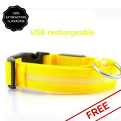 FREE Yellow Nightime LED Dog Collar With USB Re-Chargeable Batteries